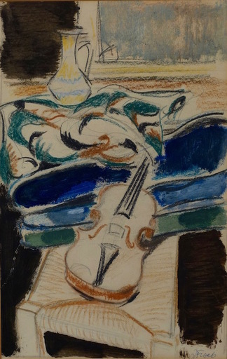 Joseph FLOCH - Dessin-Aquarelle - Still Life with Violin