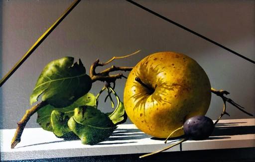 GERICO - Painting - Natura in posa (mela e chicco d'uva)
