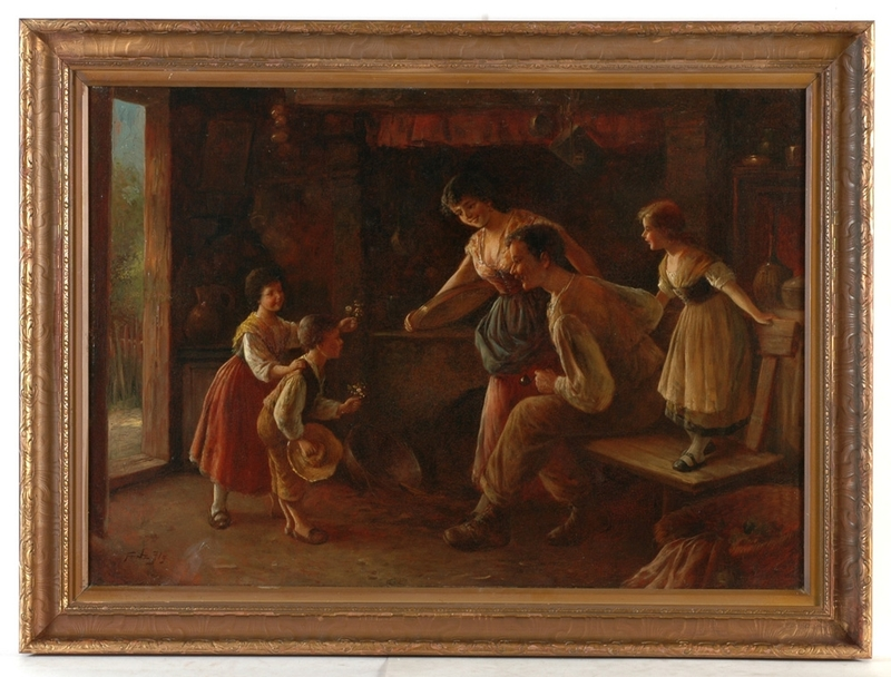 "Fritz ILG - Gemälde - ""Flowers for the parents"" oil on canvas, ca. 1900"