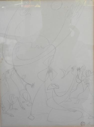 Léopold SURVAGE - Zeichnung Aquarell - suite de 4 dessins sur le theme de la femme et du cheval
