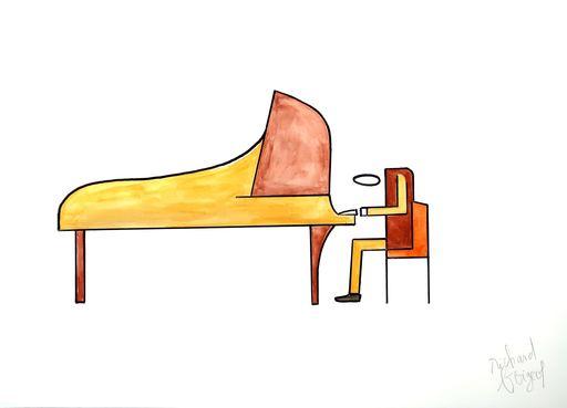 Richard BOIGEOL - Zeichnung Aquarell - LE PIANISTE VII