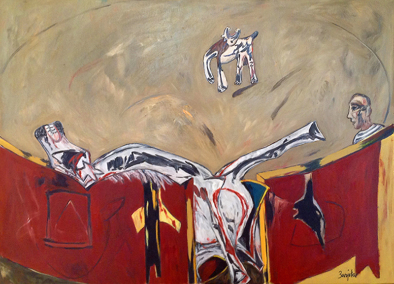 Juan BARJOLA - Painting - Víctima de la fiesta