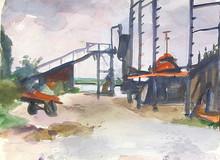 Erich HARTMANN - Dessin-Aquarelle - Wewelsfleth