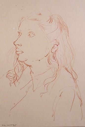 Giacomo MANZU - Drawing-Watercolor - ritratto