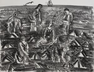 Raoul DUFY - Estampe-Multiple - Shrimp Fishermen, from: The Sea