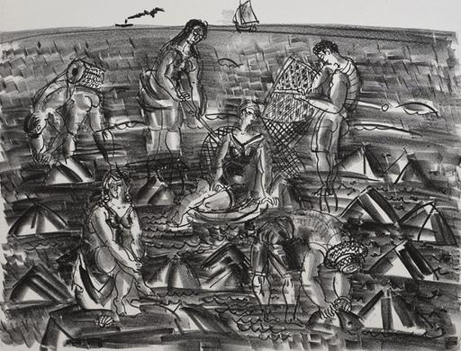 拉奥尔•杜飞 - 版画 - Shrimp Fishermen, from: The Sea