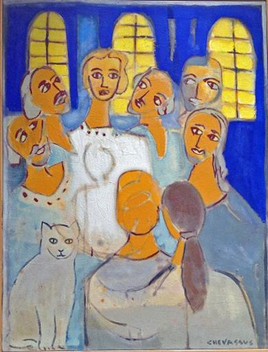 Jean-Pierre CHEVASSUS-AGNES - Painting - JESUS CHRIST et ses Apotres au Temple