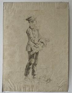 """Alexandre DUBUISSON - Drawing-Watercolor - Le Vielleux des rues"""""""