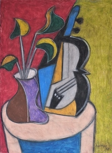 Rudolf AUSLEGER - Pittura - Stilleben mit Violine