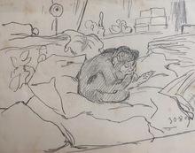Gabriel Cornelius VON MAX - Drawing-Watercolor - Affe in Interieur