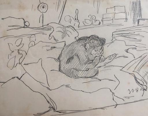 Gabriel Cornelius VON MAX - Disegno Acquarello - Affe in Interieur