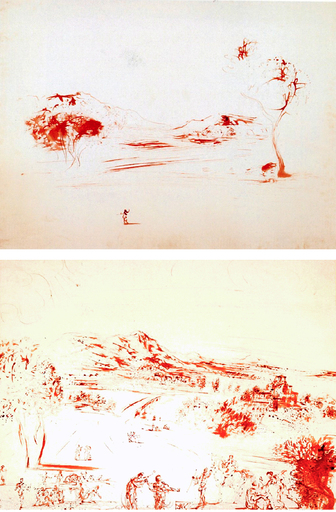 Salvador DALI - Drawing-Watercolor - Landscape of Spain