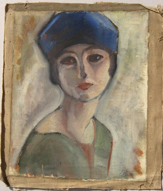 Suzanne AGRON - Painting - JEUNE FEMME AU BERET