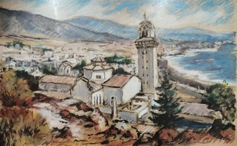 Edmond Amédée MELOT - Dibujo Acuarela - Basilique de Candelaria - Islas Canarias -