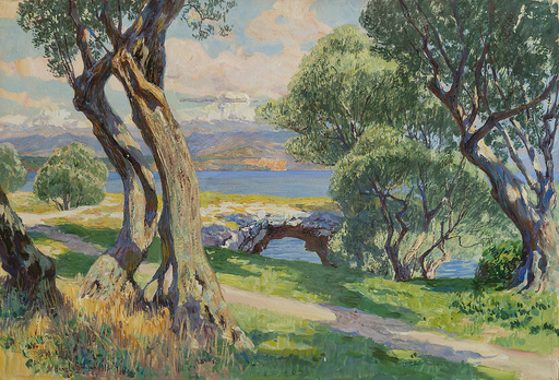 Hans LIETZMANN - Drawing-Watercolor - View over Lake Garda