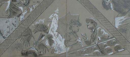 "Ulpiano CHECA Y SANZ - Dessin-Aquarelle - "" Le train bleu"" Paris 1900"