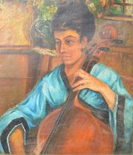Ekaterina Nikolaevna KACURA-FALILEEVA - Painting - Woman with a cello
