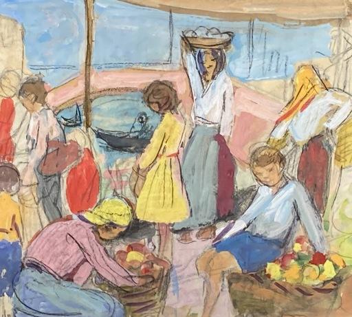 Yvonne BRUDO - Drawing-Watercolor - Le marché