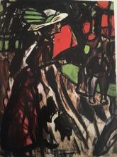 Christian ROHLFS - Drawing-Watercolor - Strassenszene mit einer Frau, Begegung