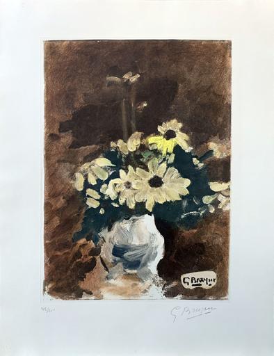 Georges BRAQUE - Grabado - Vase de fleurs jaunes