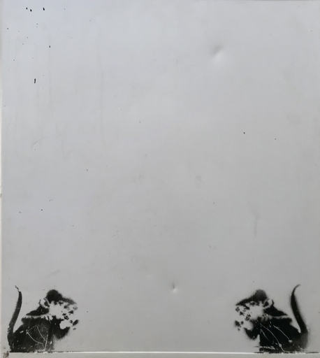 BANKSY - Painting - Bowler Hat rats on Fridge Door (lower panel 2 rats)