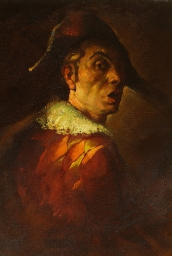 Eugène DE BIE - Peinture - Autoportrait en Arlequin