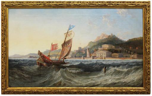James Wilson CARMICHAEL - Painting - Trireme presso il porto di un'acropoli con parata