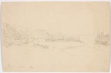 "Thomas ENDER - Dibujo Acuarela - ""Ebb in Harbor of Folstone"", drawing, ca 1817"