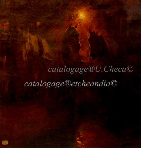 Ulpiano CHECA Y SANZ - Gemälde - Diligence nocturne -  Paris  - Cheval - Horse