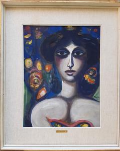 Pompeo BORRA - Painting - Modella tra i fiori