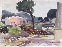 Erich HARTMANN - Dessin-Aquarelle - Porto d`Ischia mit Pinien.