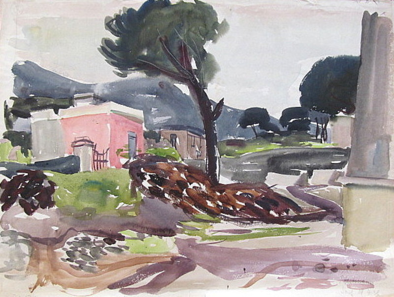 Erich HARTMANN - Disegno Acquarello - Porto d`Ischia mit Pinien.