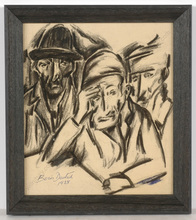 "Boris DEUTSCH - Dibujo Acuarela - ""Three Jewish men"", drawing"
