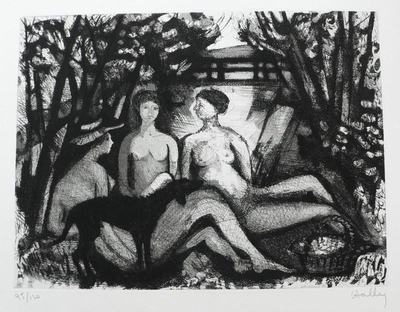 Jacques HALLEZ - Grabado - Nus de femmes au chien noir