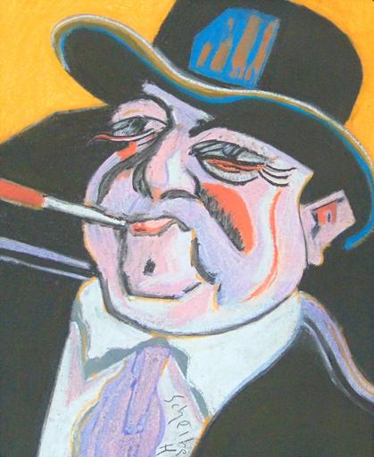 Hugo SCHEIBER - Drawing-Watercolor - Self Portrait