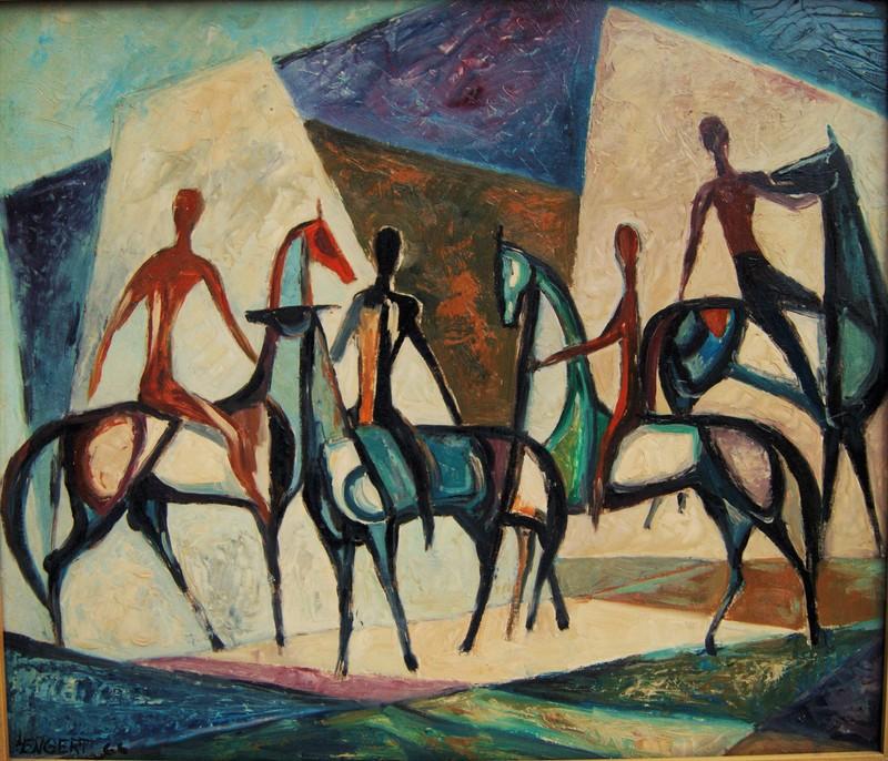 Karl-Heinz ENGERT - Peinture - Cavaliers monté à cru sur des chevaux