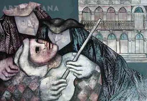 Giovanna MADOI - Painting - Il rapimento di Arlecchino