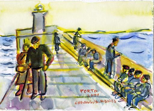 Jean-Pierre CHEVASSUS-AGNES - Dessin-Aquarelle - la promenade du phare sur le DOURO à PORTO