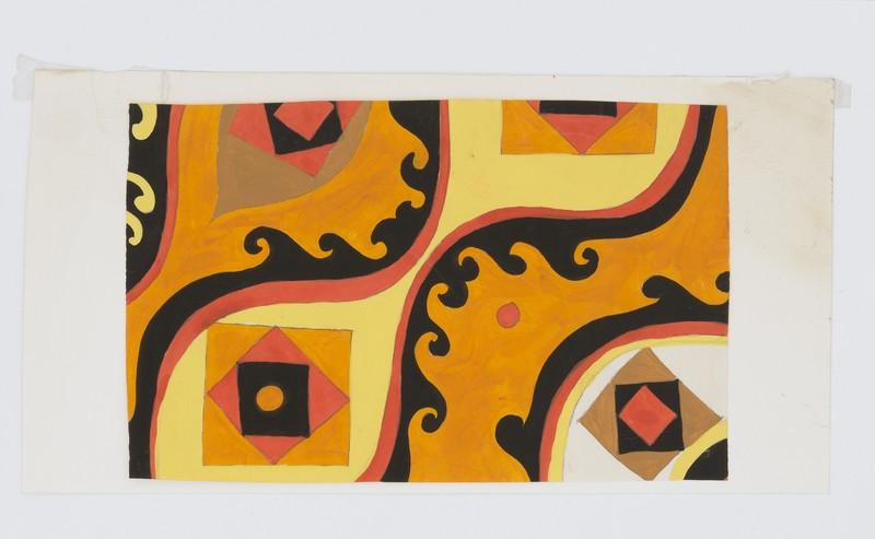 Bruno MUNARI - Dibujo Acuarela - Progetto grafico per tessuto per la X Triennale di Milano