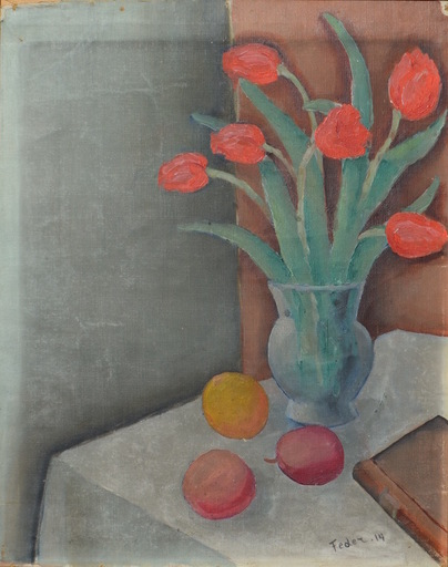 Adolphe FEDER - Painting - Still-life with tulips, plumps and a book