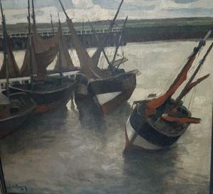René DE LANNOY - Painting - Schepen op het droge in de haven