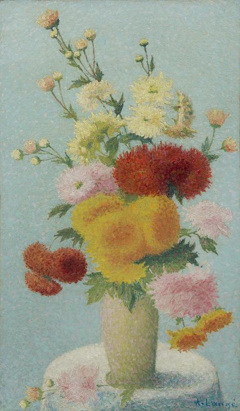 Achille LAUGÉ - Pintura - Chrysanthèmes dans un vase