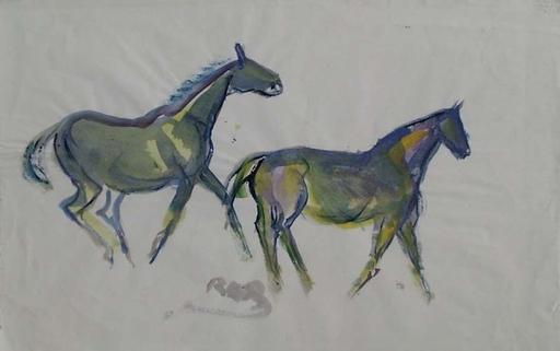 "Rudolf Raimund BALLABENE - Dibujo Acuarela - ""Running Horses"", Watercolor, 1930's"