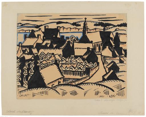 Edmund Daniel KINZINGER - Drawing-Watercolor - Cameret (Bretagne).