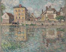亨利·勒·斯丹内尔 - 绘画 - Maison au soleil sur la rivière, Nemours