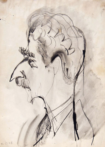 Orfeo TAMBURI - Dessin-Aquarelle - CARICATURAL SELF-PORTRAIT IN PROFILE