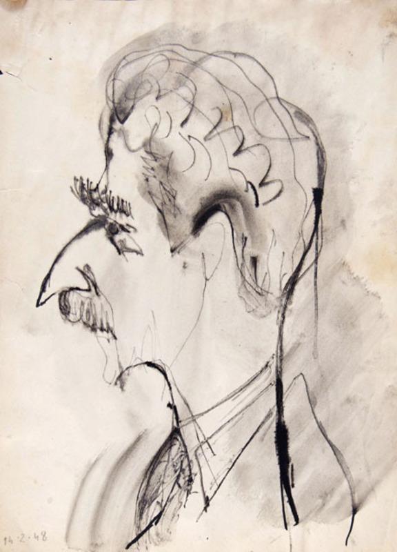Orfeo TAMBURI - Zeichnung Aquarell - CARICATURAL SELF-PORTRAIT IN PROFILE