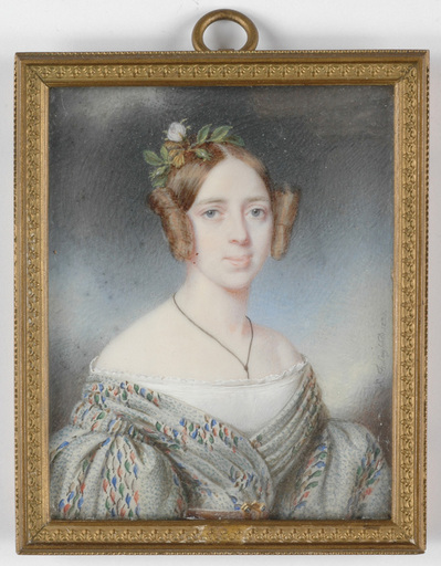 """Eduard Friedrich LEYBOLD - Drawing-Watercolor - """"Portrait of a Lady"""" miniature on ivory"""