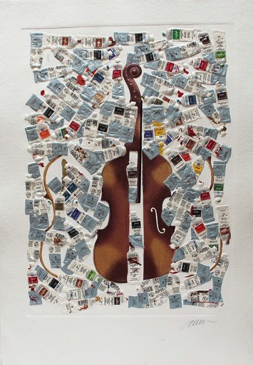 Fernandez ARMAN - Grabado - Tubes et violin