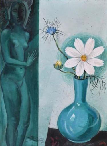 Gustave MIKLOS - Gemälde - Madame Miklos et vase de fleurs